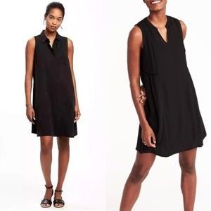 ☕️Lightweight Black Sleeveless Collar Shirt Dress